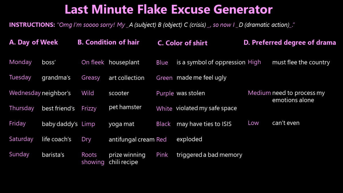 Excuse generator tool for all your flake needs